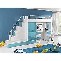 Preisvergleich für Hochbett TOMI - Schreibtisch, Schrank, Treppe und Gästebett mit Hochglanz-Fronten in weiß / schwarz / rosa / grau / lila / blau (blau)