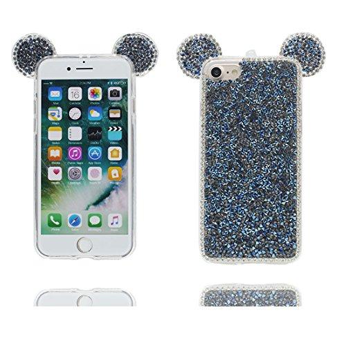 Coque iPhone 7 Plus, [TPU Flexible Durable Bling Diamonds Lovely Cute Ear] iPhone 7 Plus étui Cover (5.5 pouces), iPhone 7 Plus Case, anti- chocs- 3D Oreille de souris Cartoon Mouse ear Pink # 2