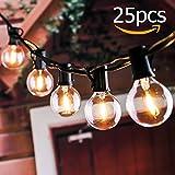 Schnur Lichterkette, Tronisky 25 Stück LED Lichterketten Globus String Lichter E12 G40 Lampen Warmweiß Glühbirne Innen und Außen Licht Deko für Weihnachten, Terrasse, Café, Garten, Party
