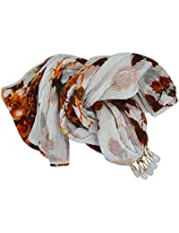 Aashya Mayro Dark Brown And White Color Cotton Cloth, Removable Stone Pendant Necklace Scarf/Stole/Scarves/Muffler...