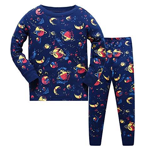2 Stück Zwei Stück Pyjama Set (HIKIDS Jungen Schlafanzug Raum Herbst Winter Pyjamas Set Kinder Universum Langarm Nachtwäsche 2 Stücke Bekleidung 104)