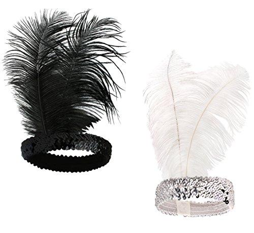 BABEYOND 1920s Stirnband Feder Flapper Stirnband Roaring 20er Showgirl Haarband Gatsby Stil Accessoires Damen Retro - Showgirl Kostüm Mit Federn