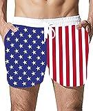 Goodstoworld Hombre Bañador Shorts Playa Natacion Pantalon Corto Hombres Poliéster Secado Rápido Ligero Bermuda Moda Shorts Bandera de USA L