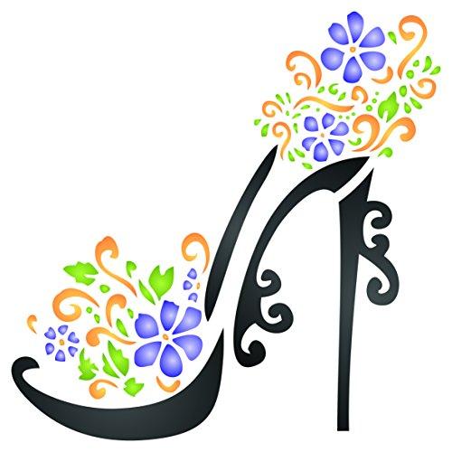 Schablone-wiederverwendbar Dekoratives Blumen gefüllt High Heel Stiletto Plattform Schuhe Wand Schablone-Vorlage, auf Papier Projekte Scrapbook Tagebuch Wände Böden Stoff Möbel Glas Holz usw, L -