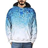3D Druck Hoodie Kapuzenpullover, Jaminy Herren Pullover Langarm Sweatshirt Kapuzen Hoodie Gym Herren Fitness Sweatshirt (M, Blau)