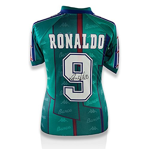 Icons-Shop-Unisex-ICRNBS3-Ronaldo-Back-Signed-Barcelona-1995-97-Away-Shirt-Multi-Colour
