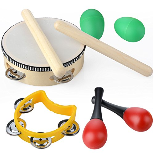 Musical Instruments Set,20 PCS Wooden Percussion Toy Rhythm & Music Education Band Set Fun Toddlers Toys Best Christmas Gift for Kids