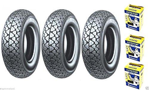 Trois pneus Pneu Michelin s83 3.50 10 59J + chambre d'air Ape 50