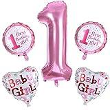 Busirde Decoración Fiesta de cumpleaños 5pcs 1r cumpleaños del bebé Foil corazón de la Estrella Globos Muchacha del bebé de 1 años
