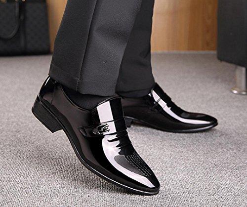 HYLM Le nuove scarpe da lavoro maschile scarpe da sposa Scarpe scarpe Uomo britannico Uomo Genuine Leather Pointed Shoes Black