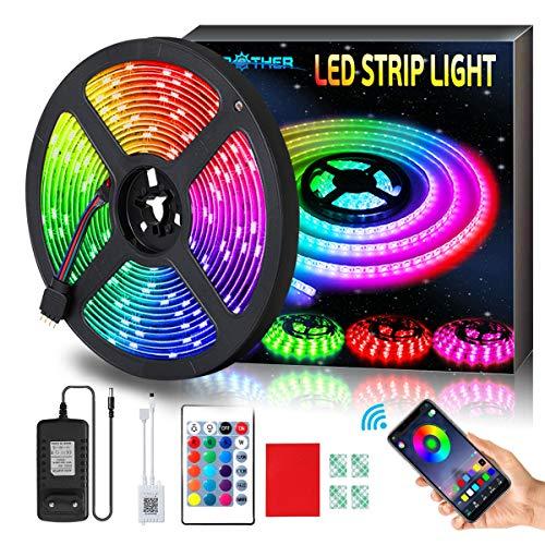 AMBOTHER LED Streifen 5m RGB LED Strip 150 LEDs 5050SMD Lichtband mit Fernbedienung Netzteil, 23 Lichtmodi, Sync mit Musik Timing via APP, Dimmbar Selbstklebend Schneidbar für Deko Innen Zimmer 12VDC