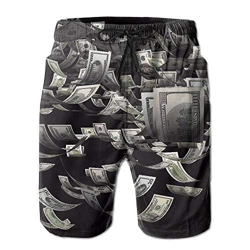 Men's Shorts Swim Beach Trunk Summer Money Dollars Athletic Classic Shorts with Pockets - XL -