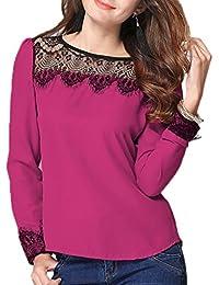 Bigood Camisa Mujer Encaje Mangas Largas Cuello Redondo