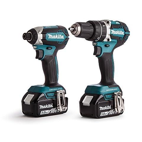 Makita DLX2180TJ Cordless Brushless Kit with DHP484 Combi Drill Plus 18 V DTD153 Impact Driver (Cordless Impact Driver Kit)
