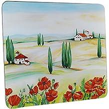 WENKO 2712957500 Placa con motivo Toscana - para cocinas de vidriocerámica, Vidrio endurecido, 50 x 0.5 x 56 cm, Multicolor