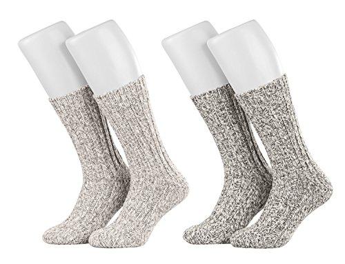 Piarini 4 Paar Norwegersocken Wintersocken Damen Herren aus Schafwolle | grau-melange Gr.47-50 (Socken Diabetiker-casual)