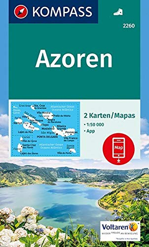 Azoren: 2 Wanderkarten 1:50000 im Set inklusive Karte zur offline Verwendung in der KOMPASS-App.: 2-delige Wandelkaart 1:50 000 (KOMPASS-Wanderkarten, Band 2260)