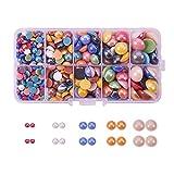 Pandahall–1bolsita de aproximadamente 1000cabujones redondos de plástico nacarado, de colores, de 10 mm para la creación de sus propia bisutería o joyas, cristal, Mxite 3, 6 ~ 14x3 ~ 5.5mm