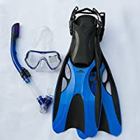 Attrezzatura subacquea–Boccaglio Maschera e boccaglio pinne, con doppia lente; Valvola di scarico inferiore e flessibile, W/Dry Top Snorkel Boccaglio; e velocità regolabile pinne, blu