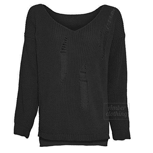 Made by Blush Avenue® Womens Long Sleeve Distressed V Neck Loose Ribbed Knitted Sweater Casual Jumper Top - 510ZiLZm2HL - Made by Blush Avenue® Womens Long Sleeve Distressed V Neck Loose Ribbed Knitted Sweater Casual Jumper Top