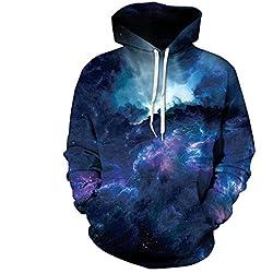 Galaxy Hoodies Männer/Frauen Mode 3d-Sweatshirts dünnen Stil mit Kapuze Hoody Kapuzenpullover Unisex Pullover Tops, MS 15, L