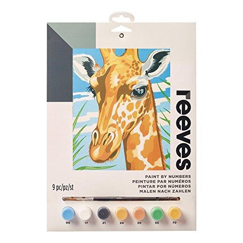 Reeves PPPNJ84 Malen nach Zahlen, Größe 22 x 30cm - Motiv: Giraffe - 1 Pinsel, 7 Acrylfarben in 5ml Töpfchen