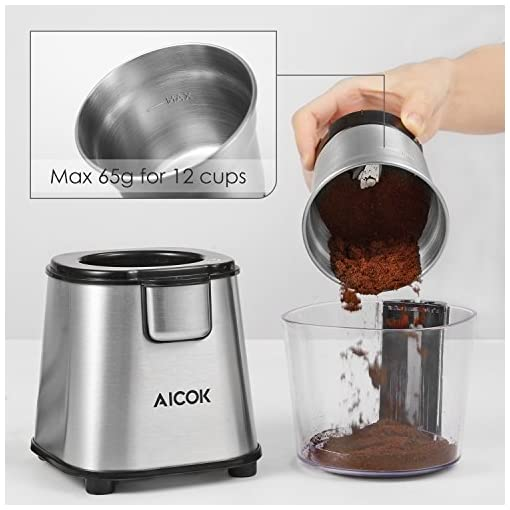 Aicok Coffee Grinder 200W Electric Spice Grinder with Detachable Bowl Stainless Steel Grinder for Beans, Spice, Nuts and Seeds 65g, Silver