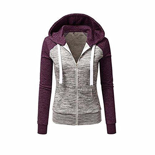 Newbestyle Jacke Damen Kapuzenpullover Strickjacke Pullover Sweatshirt Hoodies Kontrastfarbe Pulli Violett Small