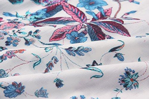 Sommerkleider Damen Lang Blumen Chiffon Schulterfrei RückenfreiTief V-Ausschnitt Kleider Elegant Sexy Maxikleid Abendkleid Bodenlang Strandkleid 2017 von YOGLY Blau