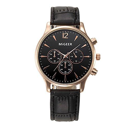 IG-Invictus Luxus Mode Krokodil Kunstleder Herren Analoge Uhr Armbanduhren BK Herrenuhr Schwarz
