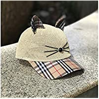 Young shinee Cappello per Bambini Lovely Cat Ears Bambini Cappello di  Paglia Protezione Solare Cappello da 5616b0ec72c8