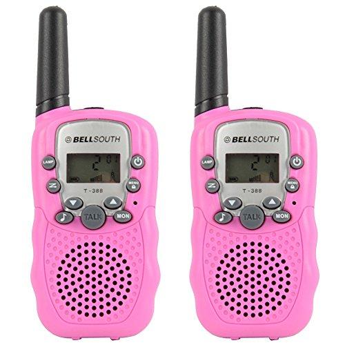 GuDoQi® Walkie Talkies Enfants Longue Portée 8 Canaux Radios Bidirectionnelles Avec Éclairage LED 2 Pcs Rose