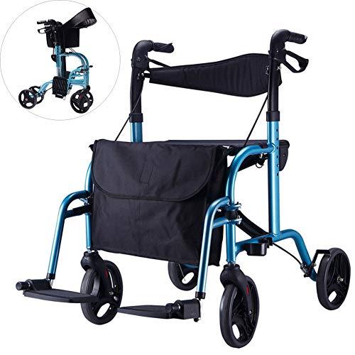 KEXINGQI Leichter, zusammenklappbarer Rollator Walker mit Sitz Seat Doppelte Sicherheitsbremse, höhenverstellbar, 4-Rollen-Mobilitätshilfen, Abnehmbare Aufbewahrungstasche,Blue