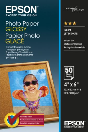 Epson carta fotografica lucida, 10x15cm, 50 fogli, bianco