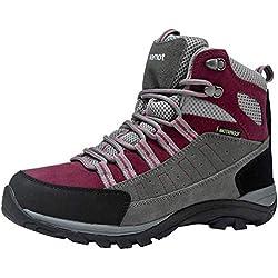 riemot Botas de Senderismo y Campo para Mujer, Zapatillas Altas de Trekking Zapatos de Montaña Escalada Aire Libre Calzado Impermeable Ligero Antideslizantes, Gris/Fucsia 37 EU