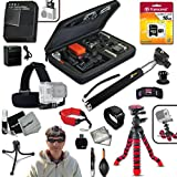 Xtech Ideal 21 Piece Accessory Kit for GoPro HERO4 Hero 4 Digital Camera Includes Head Strap Mount, 16GB High Speed Memory Card + High Capacity AHDBT-401 Battery + Quick Dual Charger + 12 inch Highly Flexible Tripod + Custom Large size Case, Hand Held Monopod + Floating Foam Strap + Remote Wrist Strap + Gold plated HDMI Cable + Universal Card Reader + Mini Table Tripod + Ultra Fine HeroFiber Cleaning Cloth