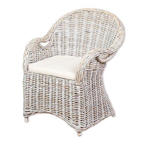 LEBENSwohnART Rattan-Sessel Charlotte White-Washed mit Sitzkissen Stuhl