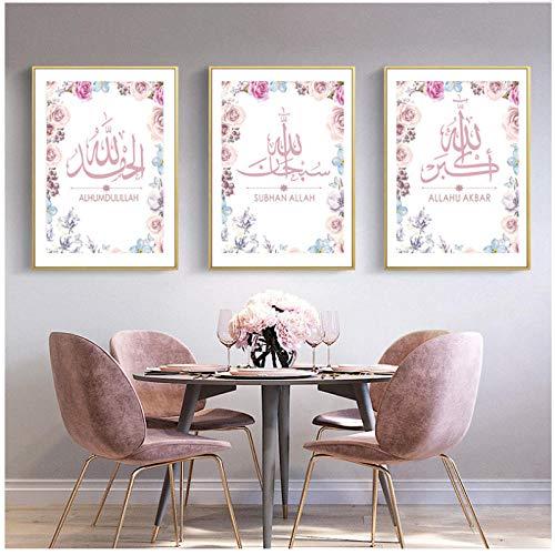 xwlljkcz 3 Stück Wandkunst Bilder Leinwand Gemälde Alhamdulillah Subhan Allah Islamischen Rosa Blumen Poster Drucke Wohnzimmer Wohnkultur 40x60 cm kein Rahmen