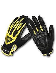 Todo se refiere al desgaste resistente campo a través antideslizante Guantes de moto deportes al aire libre ( Color : Amarillo , Tamaño : L )
