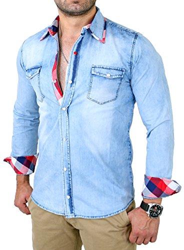 Tazzio Jeanshemd Herren Jeans Hemd Karo- Kontrastkragen Langarmhemd TZ-15608 Blau Blau