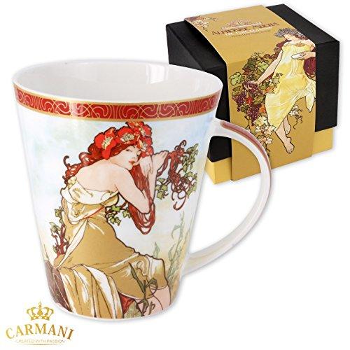 Carmani - Gran taza de porcelana decorada con 'Verano' de Alfons Mucha