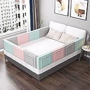 حاجز حماية سرير للاطفال الرضع بارتفاع 20/24 انش بارتفاع قابل للتعديل من جانب الامان، وردي/رمادي/اخضر، لسرير ال