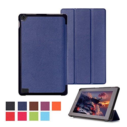 Fire Kindle Leder-etui (Schutzhülle für Fire 7 2015 - Ultra Dünn Smart Cover Leder Case Schutz Hülle Tasche + Back Case für Amazon Fire (7-Zoll-Tablet, 5. Generation - 2015 Modell) Schutzhülle Leder Etui mit Multi Ständer - Dunkelblau)