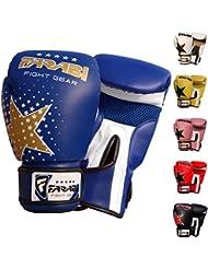Enfants gants de boxe sparring, Junior MMA muay thai gants de kickboxing poinçonnage des mitaines de formation de sac 6 onces par Farabi (bleu)