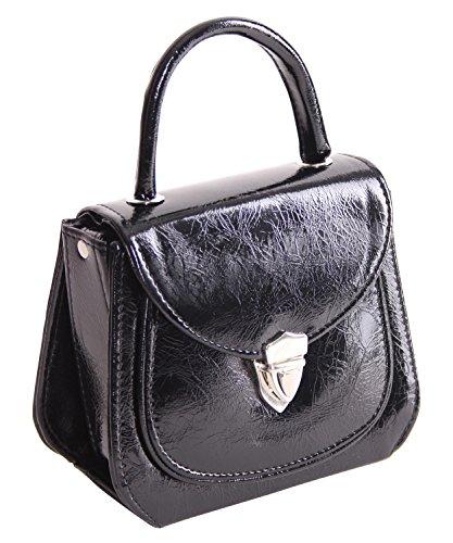 3fff1c7294019 ... SugarShock Jonna 60er retro vintage style Schnallen Lack Koffer  Handtasche Rockabilly Schwarz