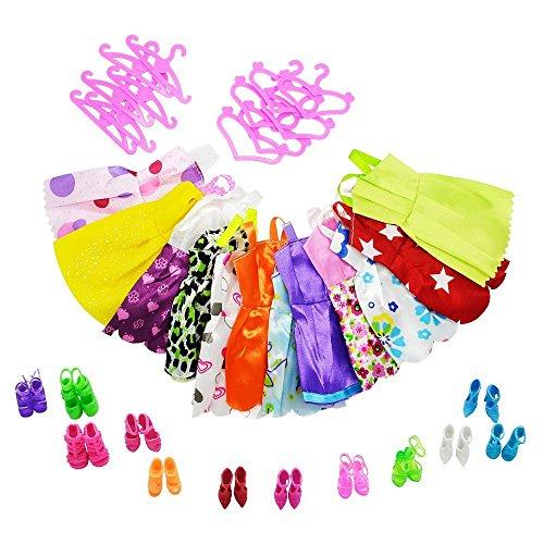 Asiv 12 Abiti 12 Paia di Scarpe Grucce per Barbie Accessori Regali per bambino (36pz)