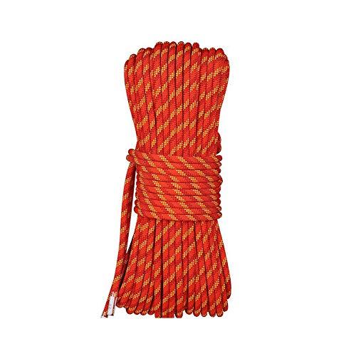 WYX Corde d'escalade Corde d'escalade Professionnelle de sécurité en Plein air, Corde en Rappel en Plein air (Couleur : Orange, Taille : 10mm Wide 20m Long)