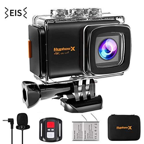 Hyphenx 4K Sport Action Kamera 170 Grad Weitwinkel Ultra HD EIS WiFi Wasserdicht DV versteckter Camcorder 30 m Unterwasser Video Fernbedienung mit Montagezubehör Kit
