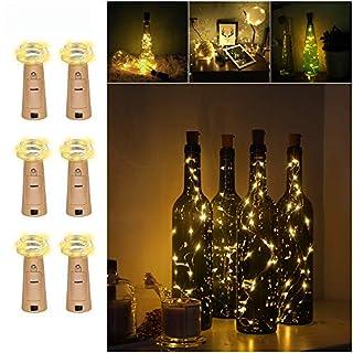 6pack Bottle Lights, Amteker 1M 20 LED Cork Lights, Copper Wire Bottle Lights for DIY, Party, Decor, Christmas, Halloween, Wedding (Warm White)