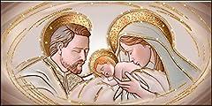 Idea Regalo - Deco Italia Quadro Sacro Capezzale Santa Famiglia The Kiss Ceramic Oro con Glitter | 60 x 120 cm
